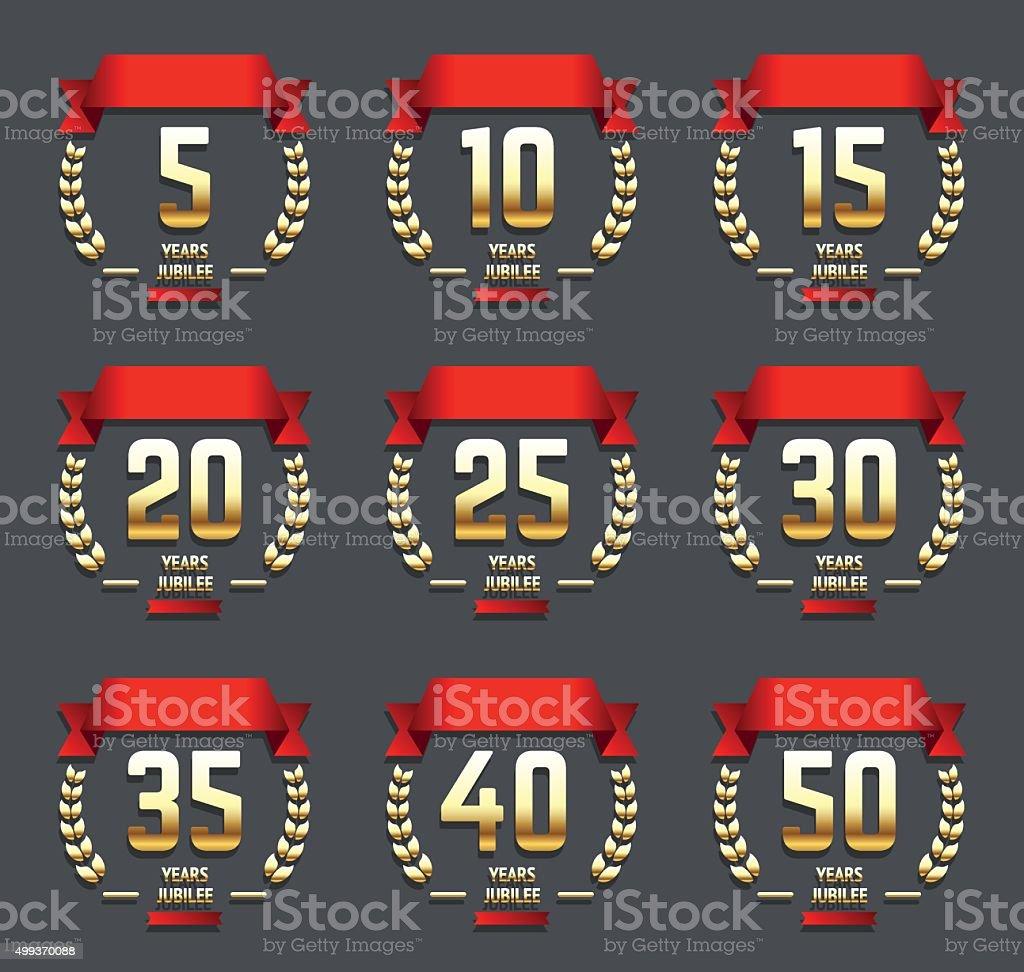 5th, 10th, 15th, 20th, 25th, 30th, 40th, 50th jubilee logo. vector art illustration