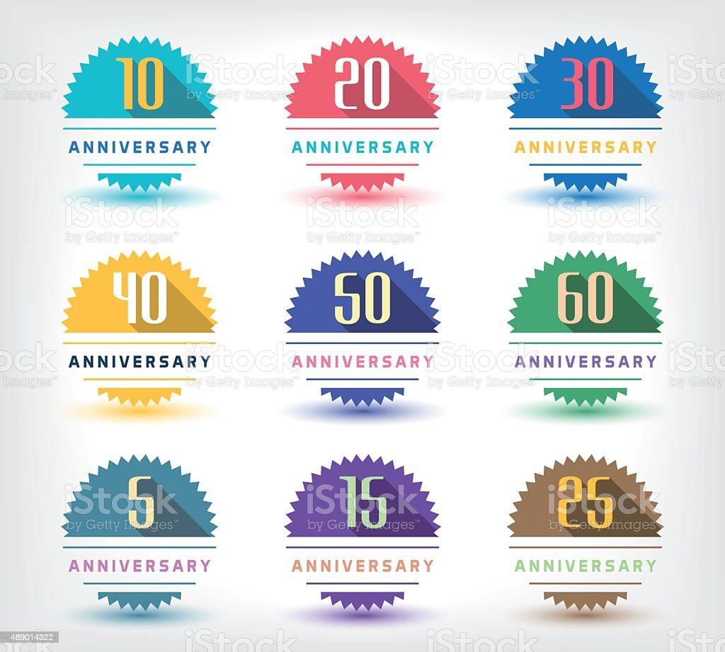 5th, 10th, 20th, 30th, 40th, 50th, 60th anniversary logo. vector art illustration