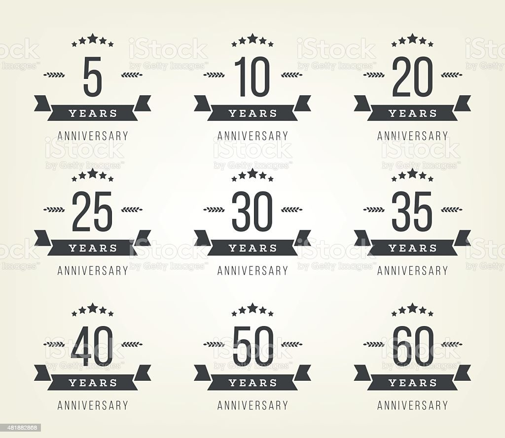 5th, 10th, 20th, 30th, 40th, 50th, 60th jubilee logo. vector art illustration