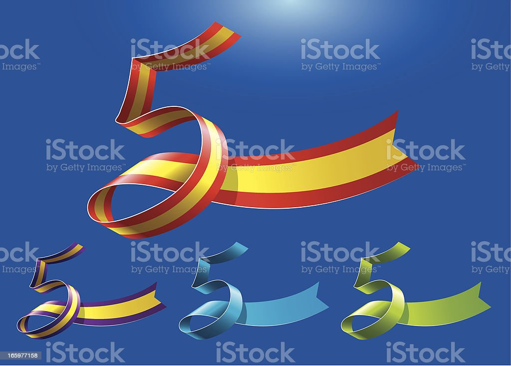 5th anniversary RibbonArt vector art illustration