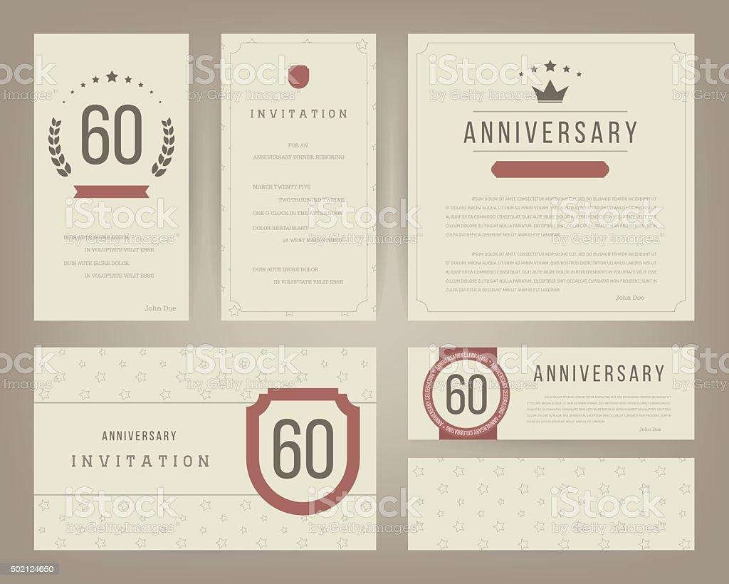 60. Geburtstag Einladung Karten Vorlage Mit Logo Ist. Vintage  Vektor Illustration. Lizenzfreies