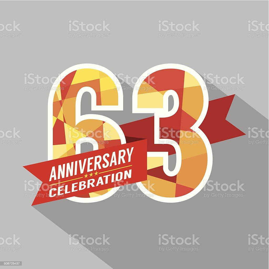 63rd Years Anniversary Celebration Design royalty-free stock vector art