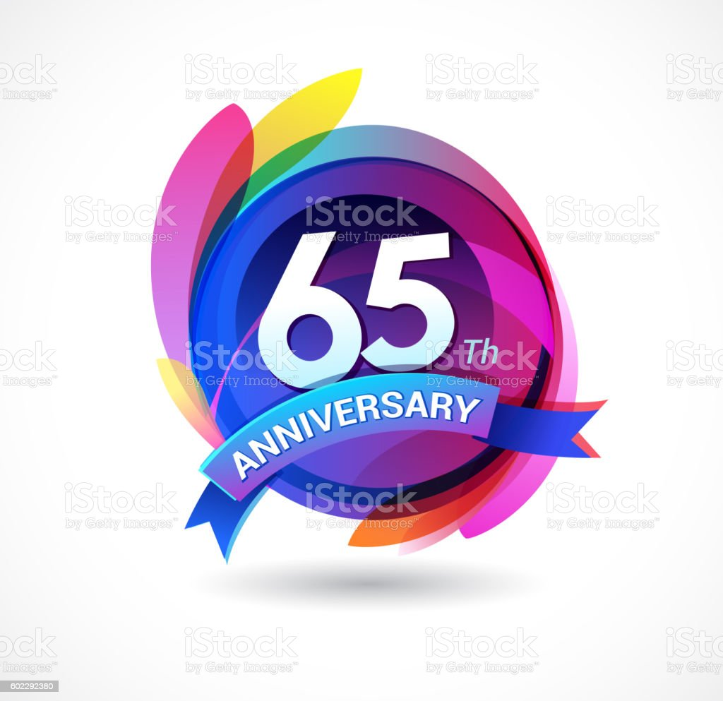 65th anniversary - abstract background with icons and elements vector art illustration