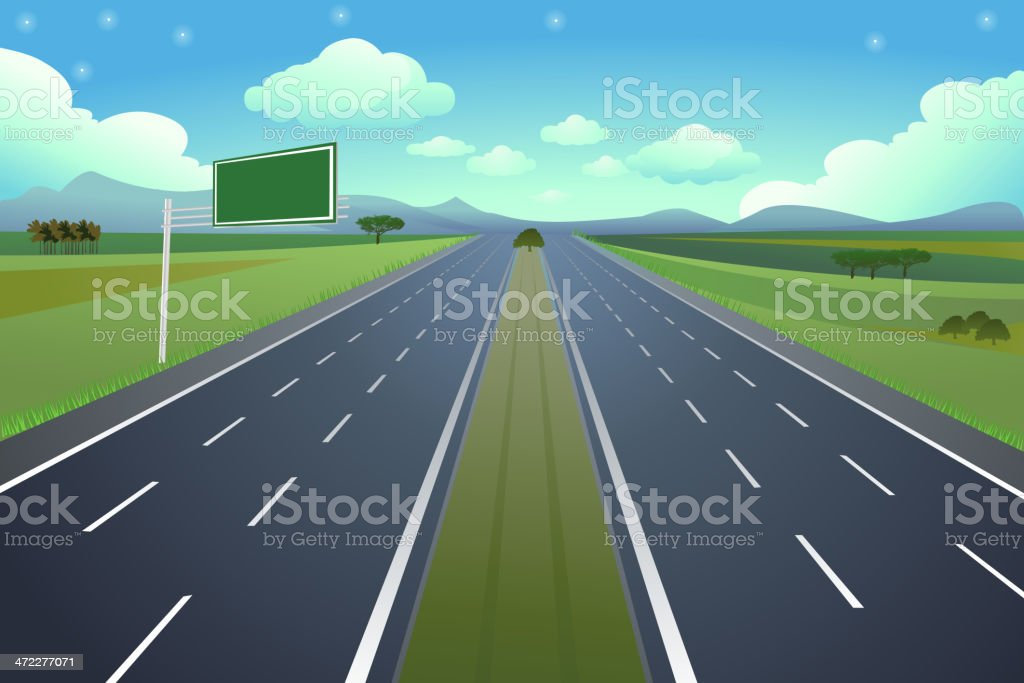 6Lane Highway with Sign vector art illustration