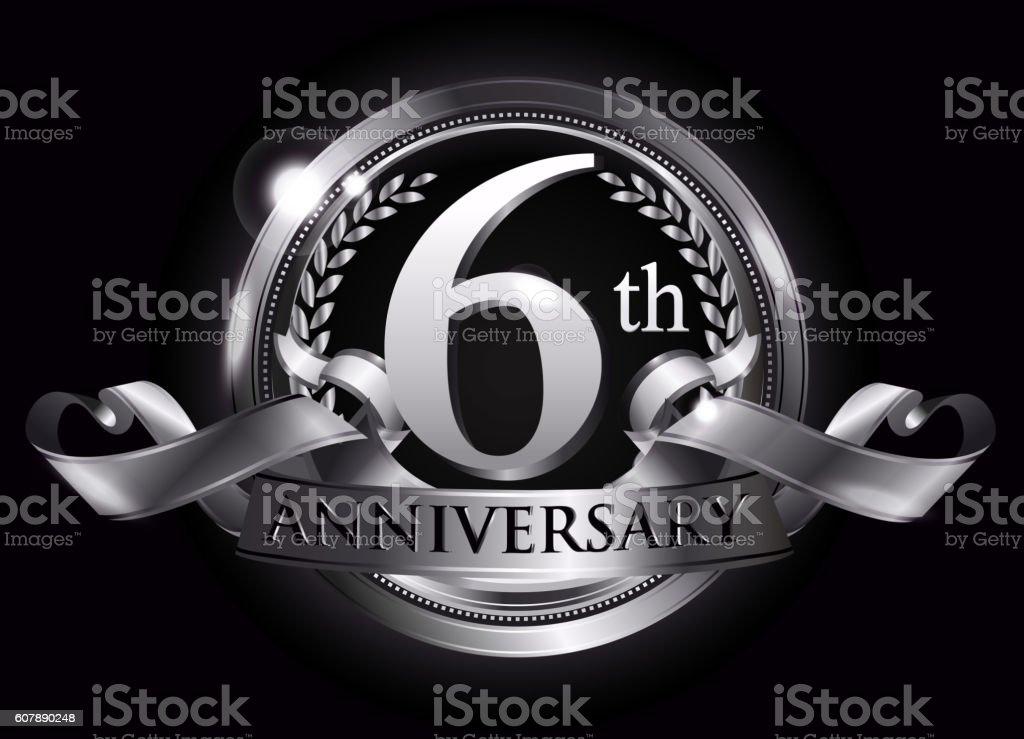 6th silver anniversary logo vector art illustration