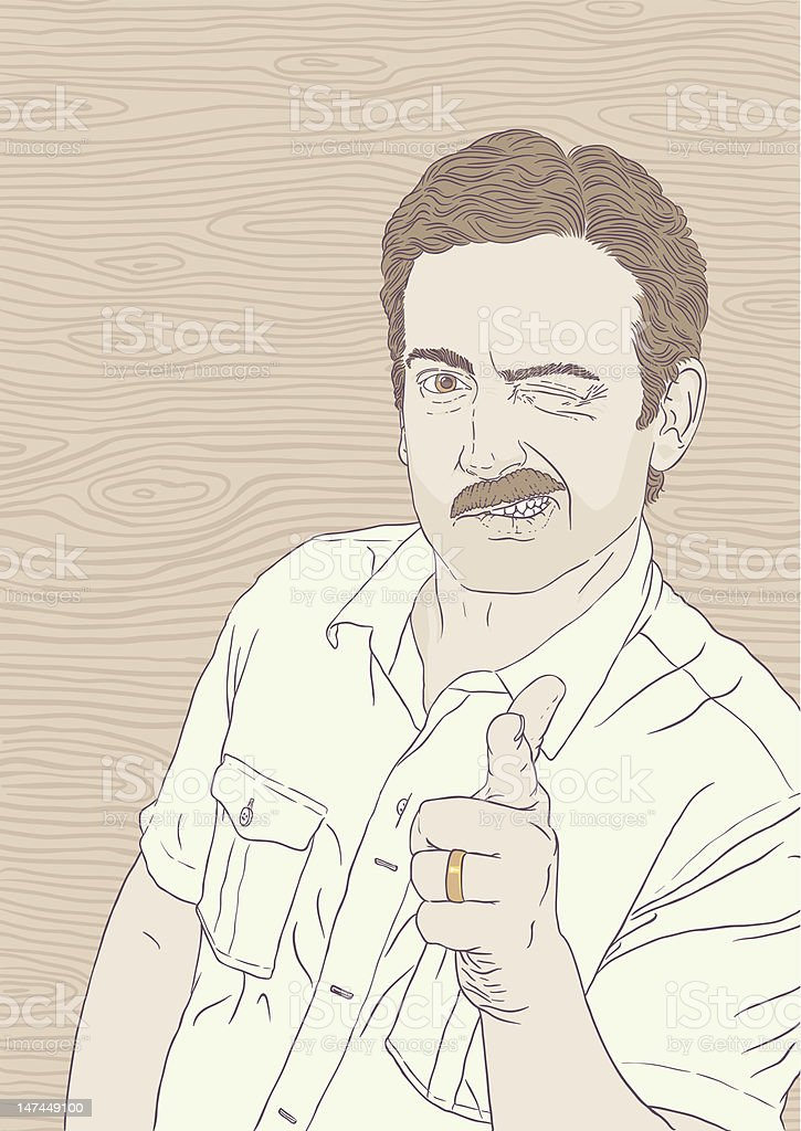 70s Moustache Guy says A-OK royalty-free stock vector art