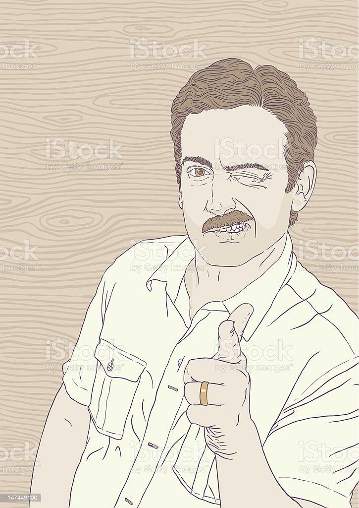 70s Moustache Guy says A-OK vector art illustration