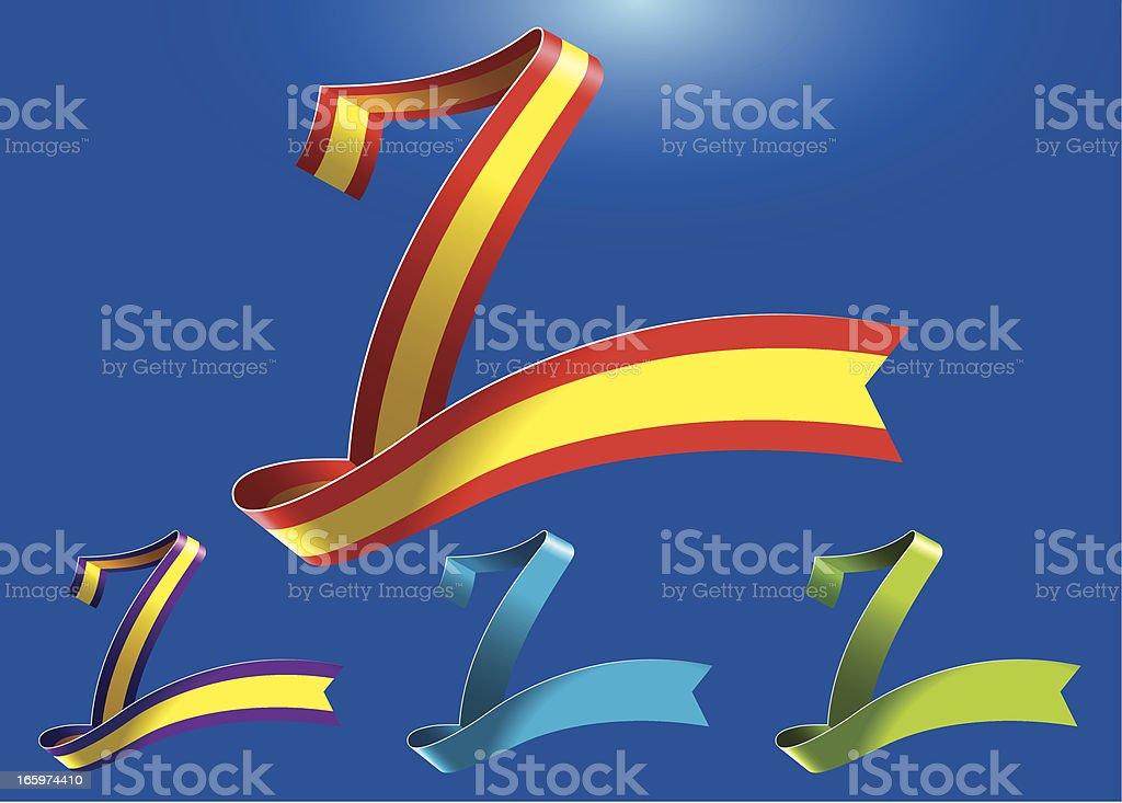 7th anniversary RibbonArt vector art illustration