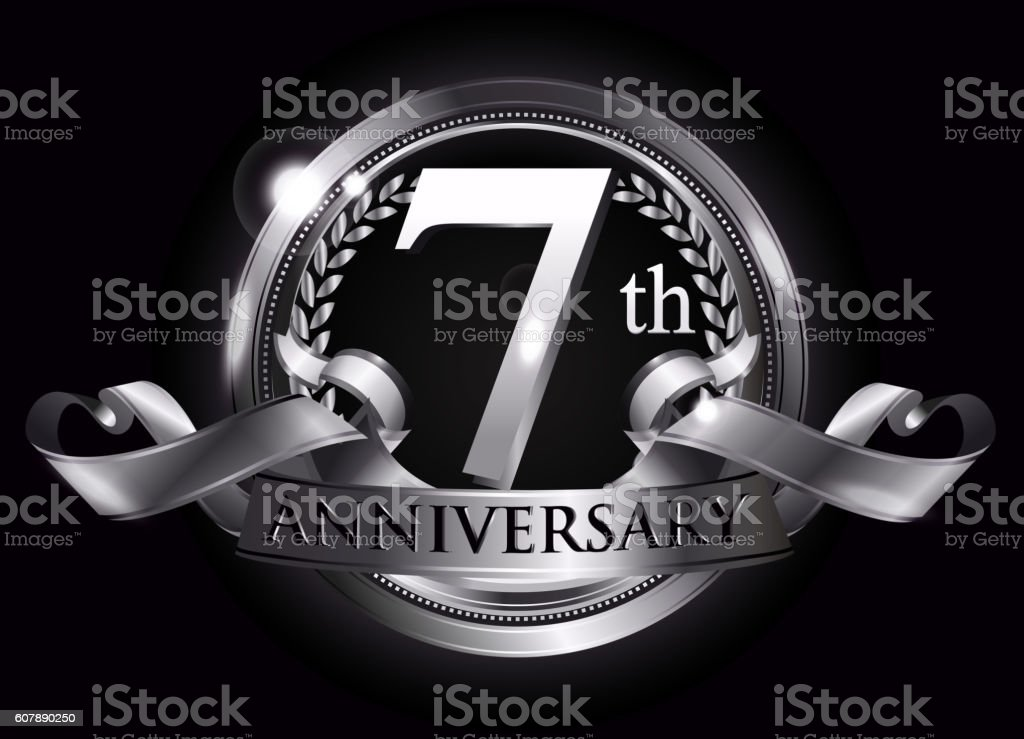 7th silver anniversary logo vector art illustration