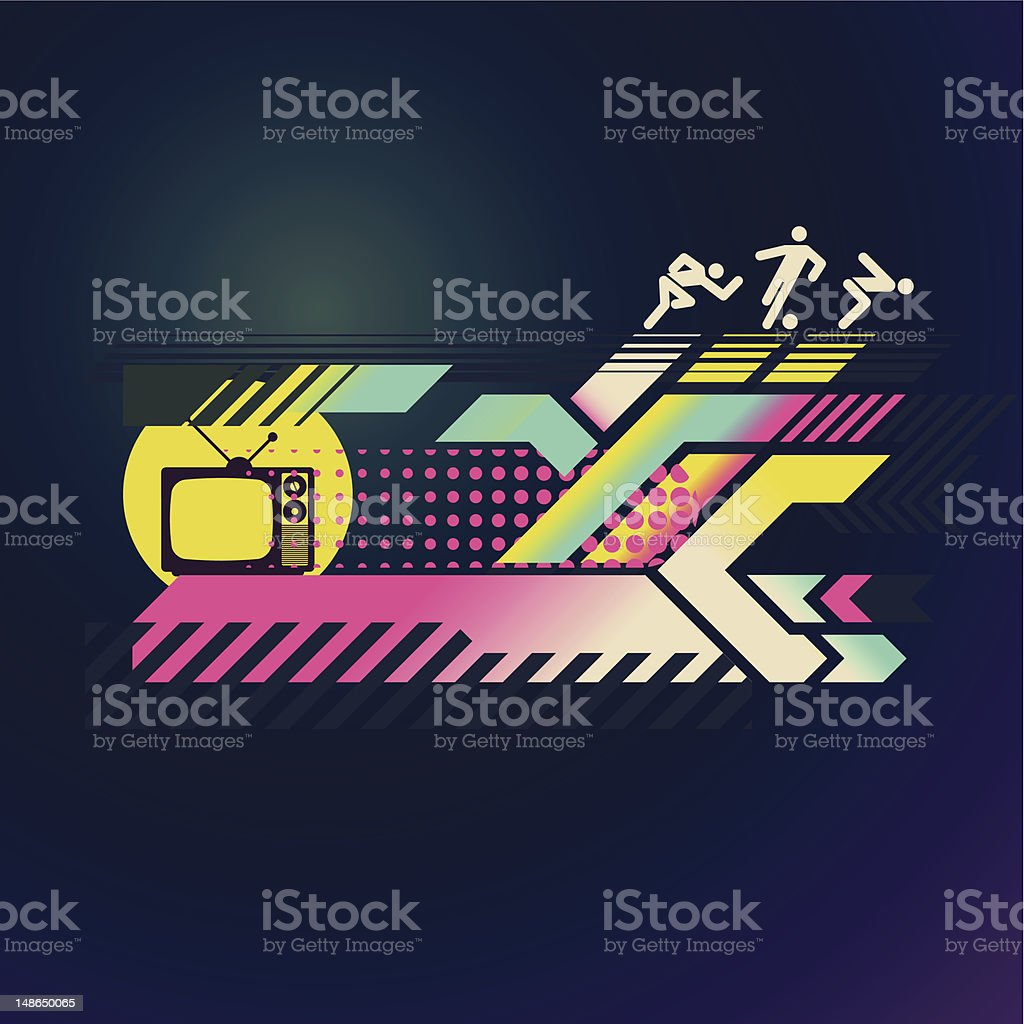 80s Retro Design - Sports, TV and Abstract Paths royalty-free stock vector art