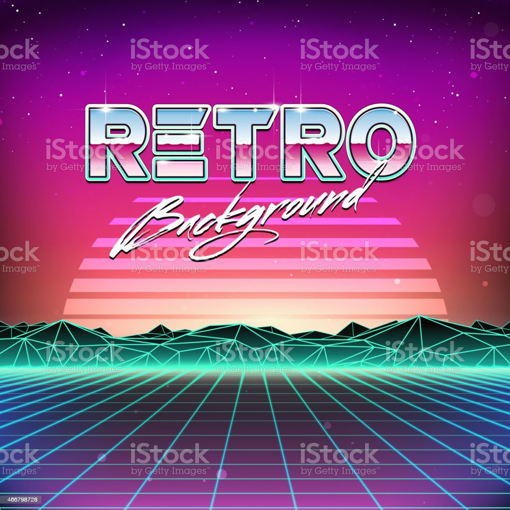80s Retro Futurism Sci-Fi Background vector art illustration