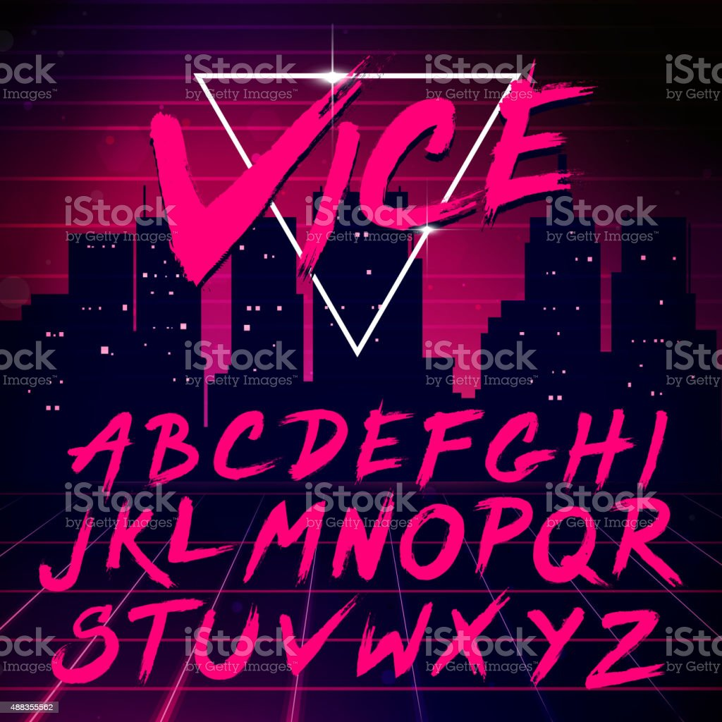 80s Retro Futurism style Font. Vector Brush Stroke Alphabet vector art illustration