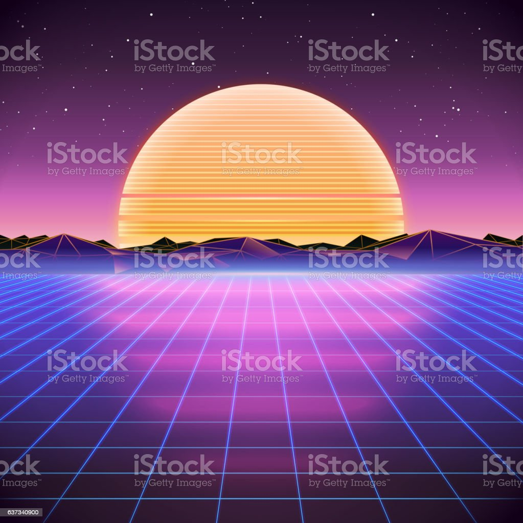 80s Retro Sci-Fi Background with Sunset vector art illustration