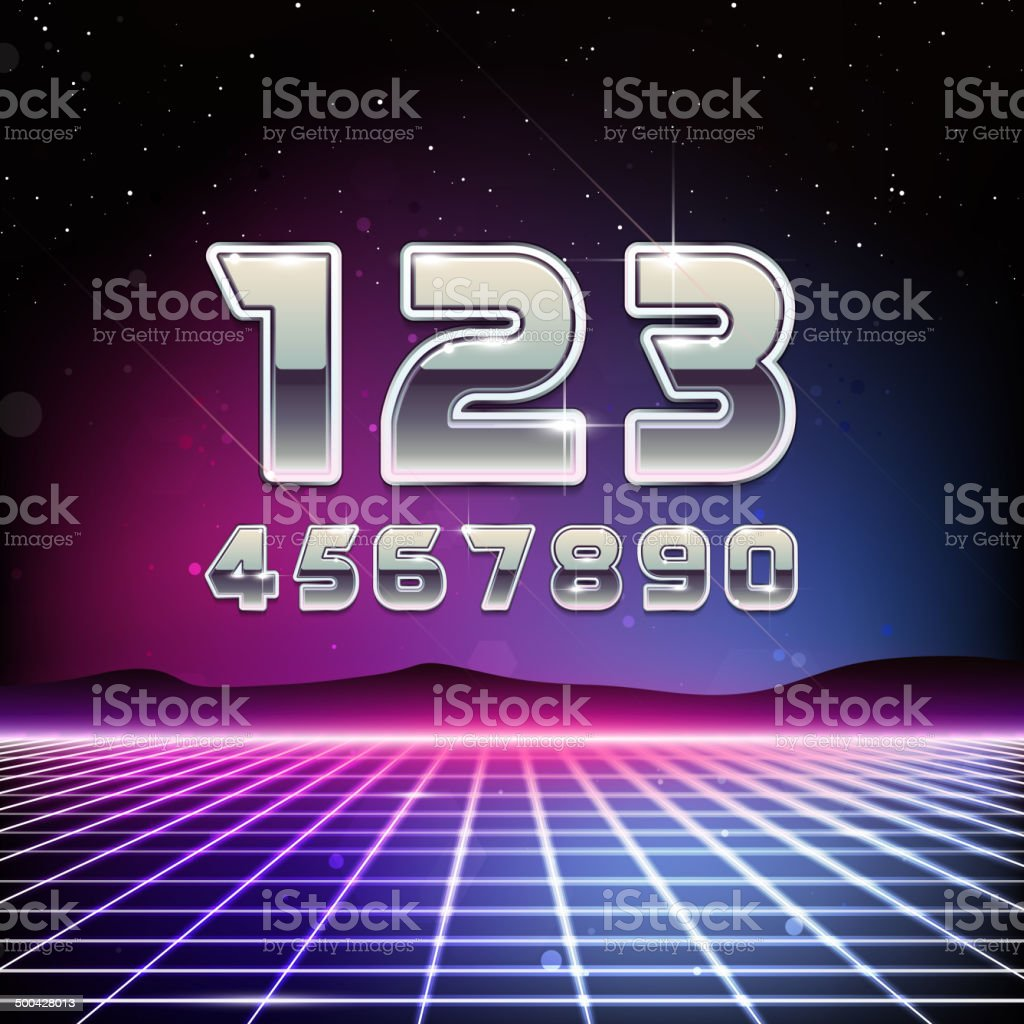 80s Retro Sci-Fi Digits vector art illustration