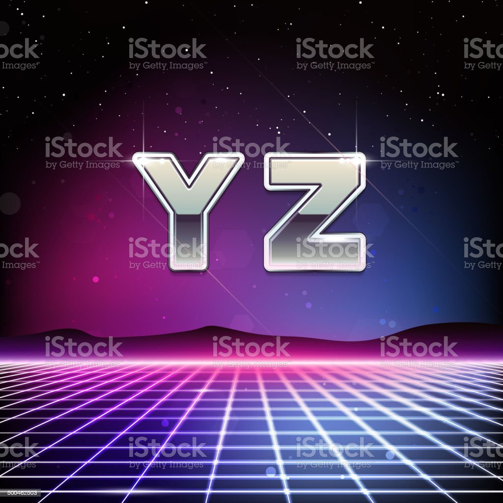 80s Retro Sci-Fi Font from Y to Z vector art illustration