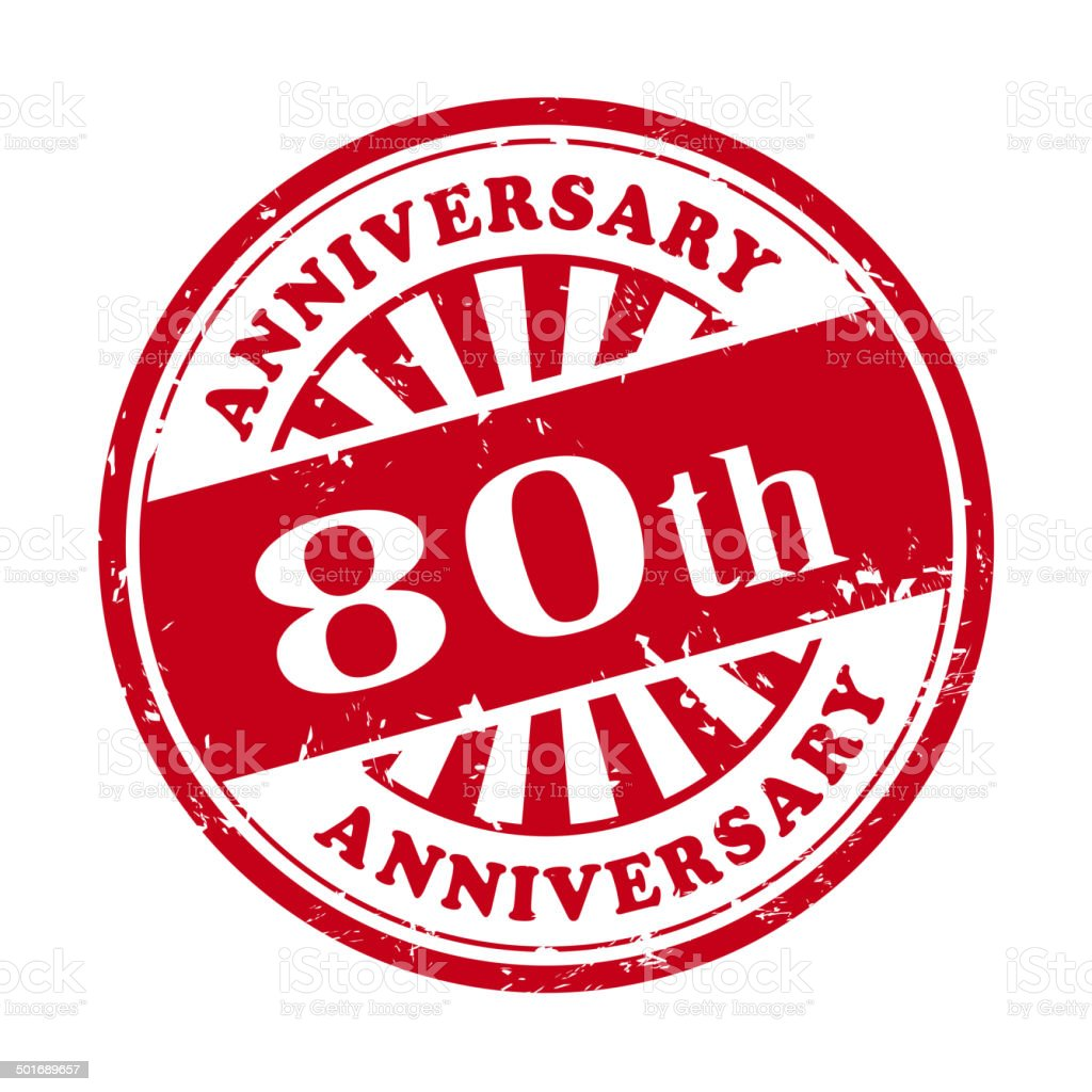 80th anniversary grunge rubber stamp royalty-free stock vector art