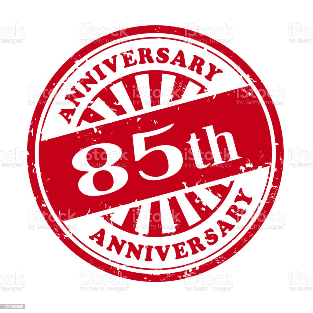 85th anniversary grunge rubber stamp royalty-free stock vector art