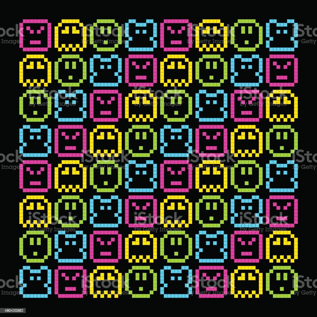 8-Bit Pixel Retro Rainbow Character Pattern. EPS8 Vector vector art illustration