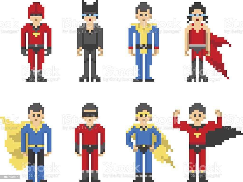 8-bit Pixel Super Hero Characters royalty-free stock vector art