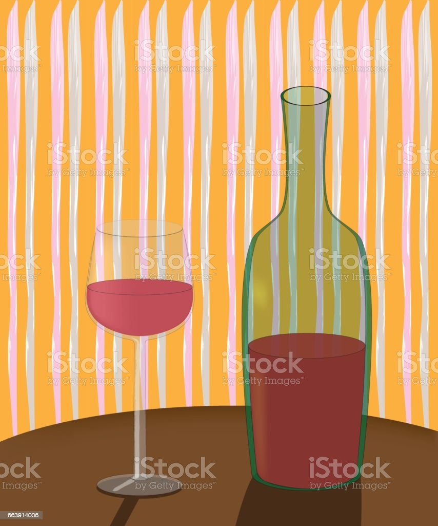 a bottle of wine and a glass on the table vector art illustration