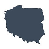 a illustrated blue Poland country map