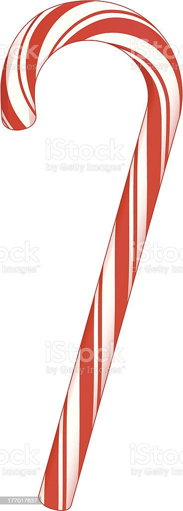 a mint striped candy cane tasty candy vector art illustration