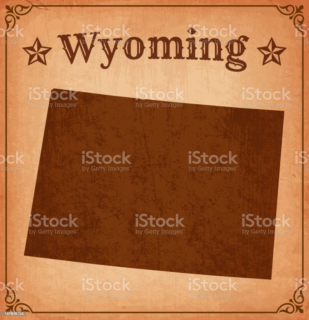 a vintage themed map of Wyoming royalty-free stock vector art
