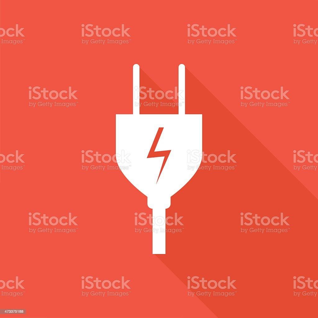 A CGI of a white electrical plug on a red background vector art illustration