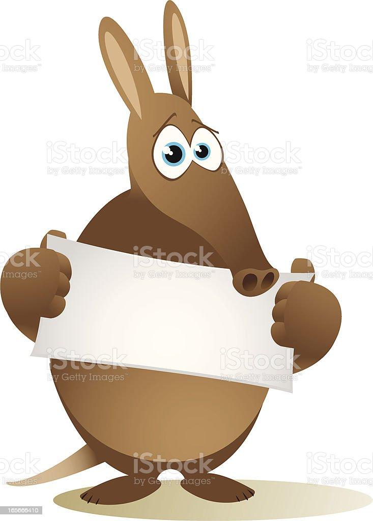 Aardvark holding a small blank banner royalty-free stock vector art