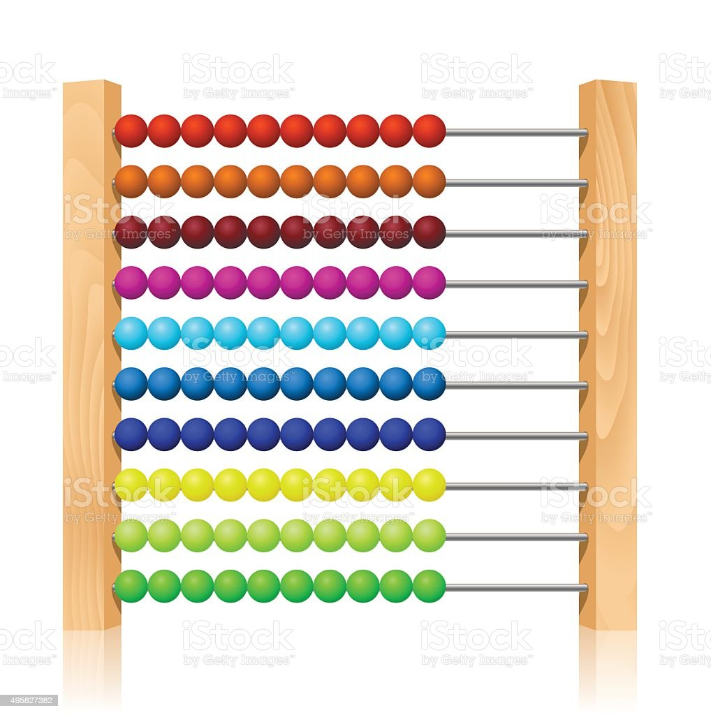 Abacus with colorful wooden beads vector art illustration
