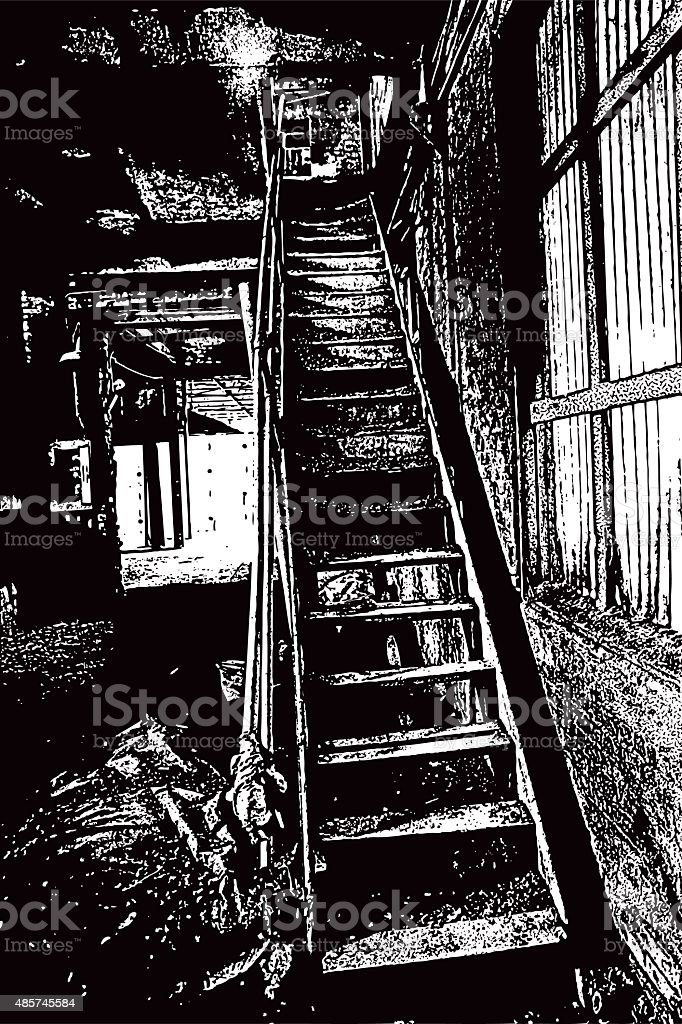 Abandoned Building Interior With Staircase And Door vector art illustration