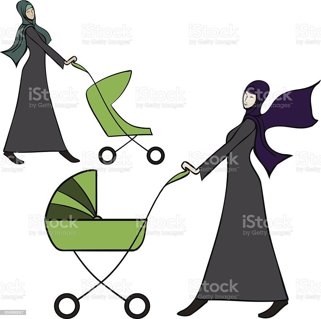 Abaya dressed arab woman pushing a baby stroller vector art illustration