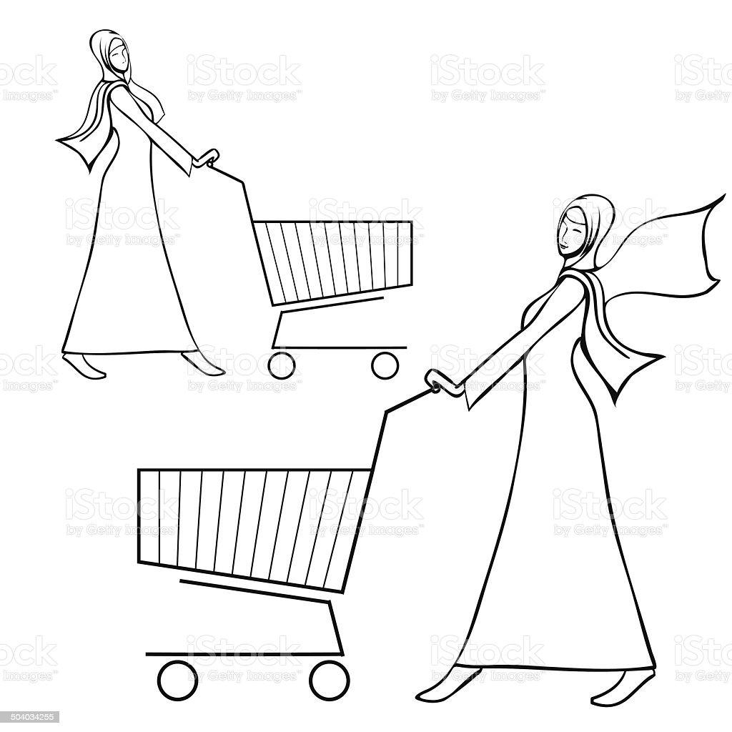 Abaya dressed arab woman pushing a shopping cart vector art illustration