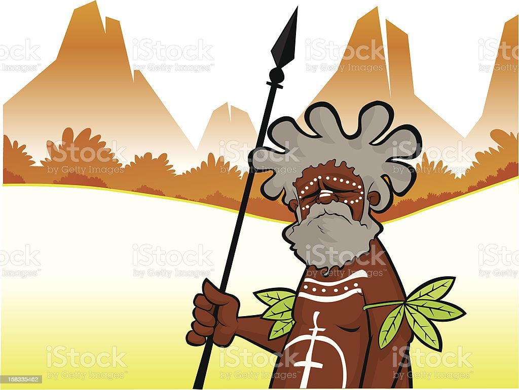 Aborigine with Spear royalty-free stock vector art