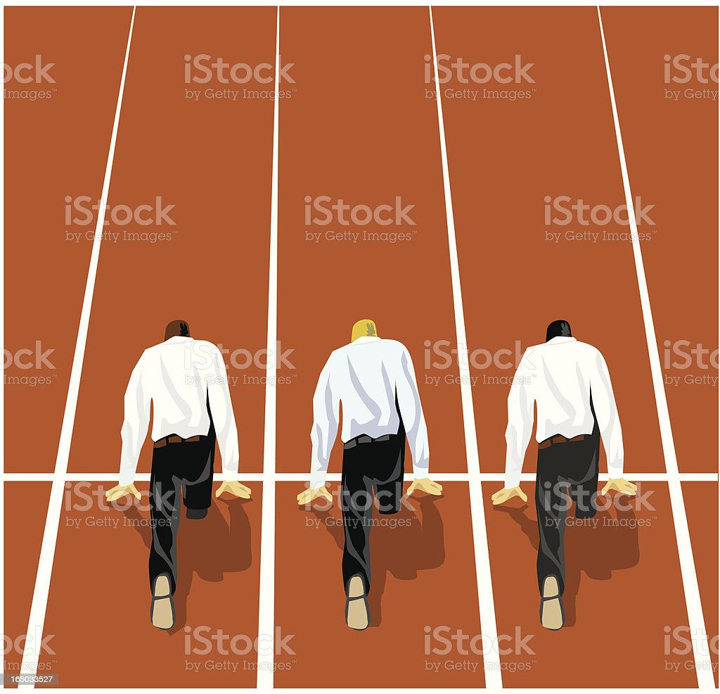 businessmen in position to start running a race