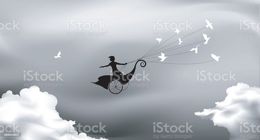 above clouds vector art illustration