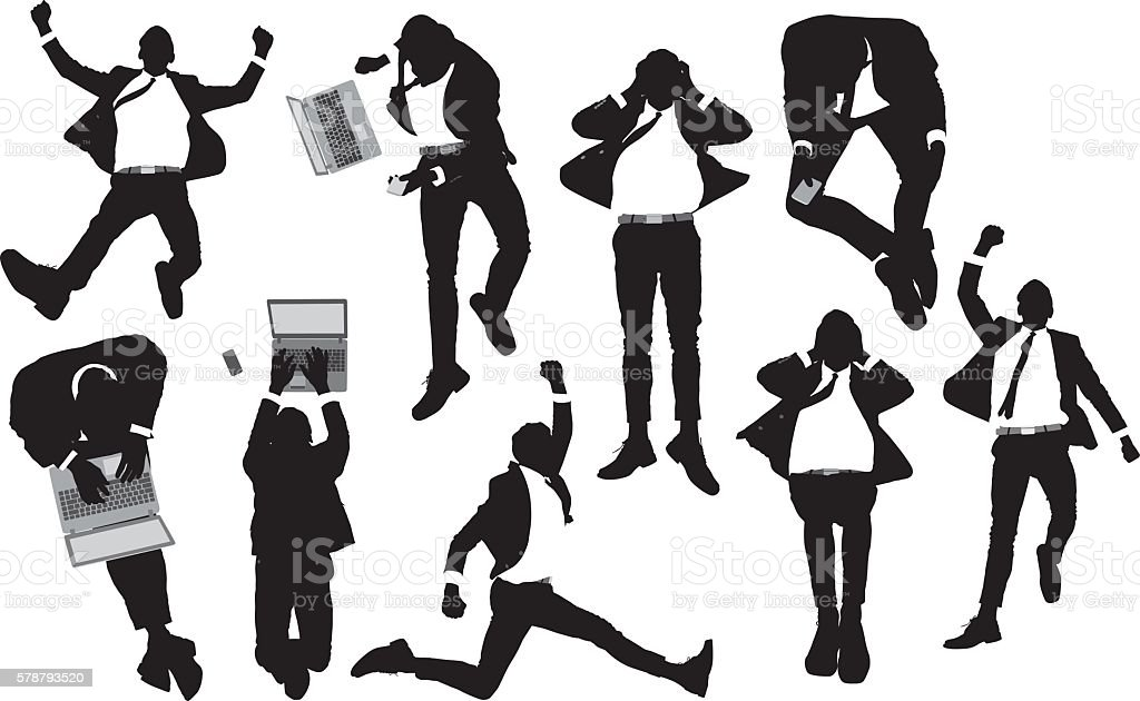 Above view of business man in various actions vector art illustration