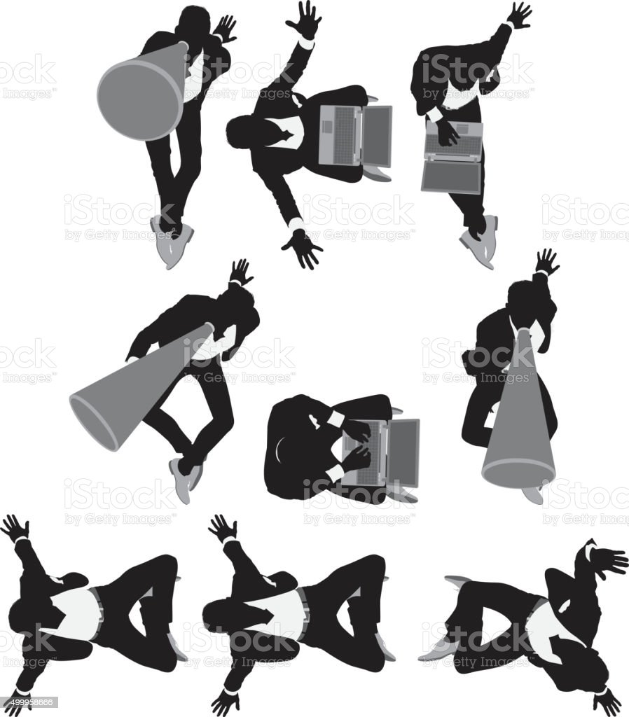Above view of businessman in various actions vector art illustration