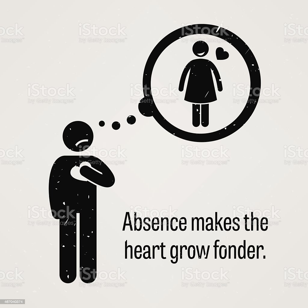 Absence Makes the Heart Grow Fonder vector art illustration