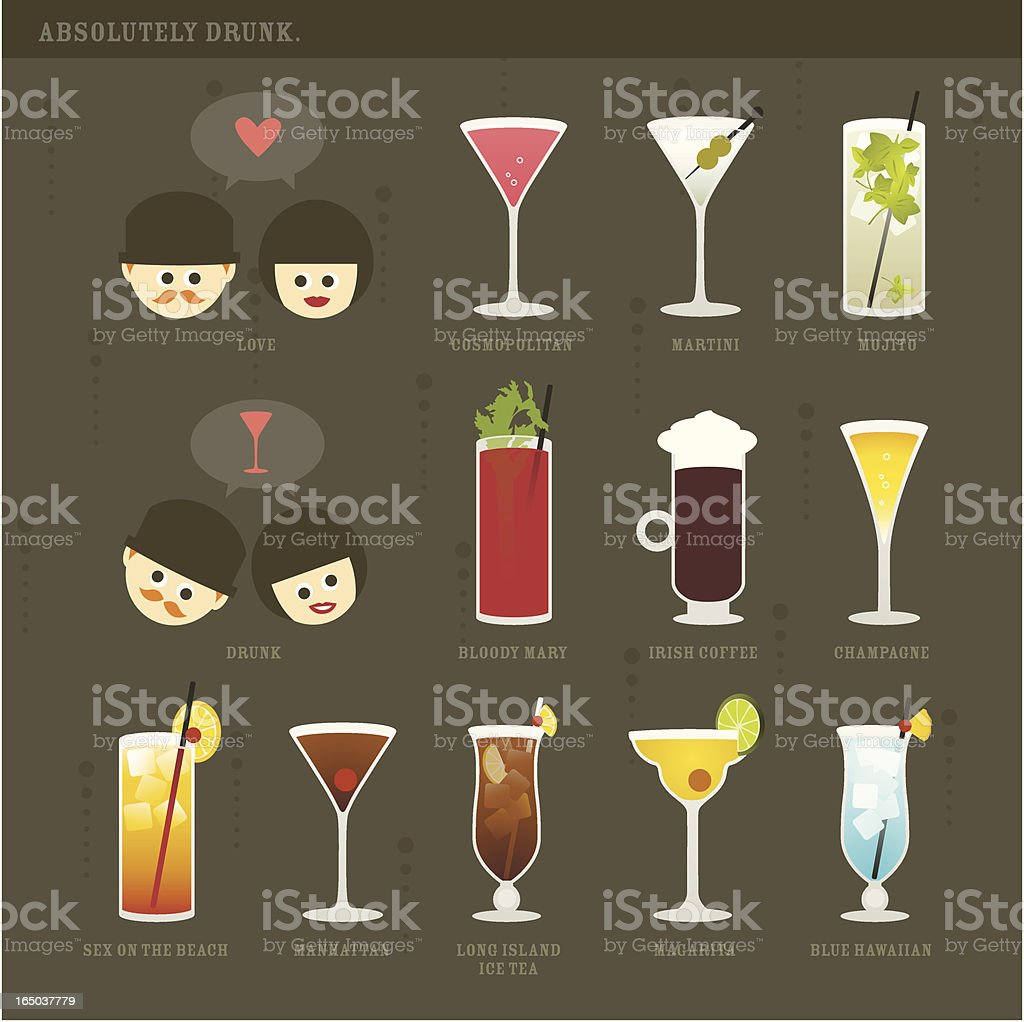 Absolutely Drunk Cocktail Icons vector art illustration