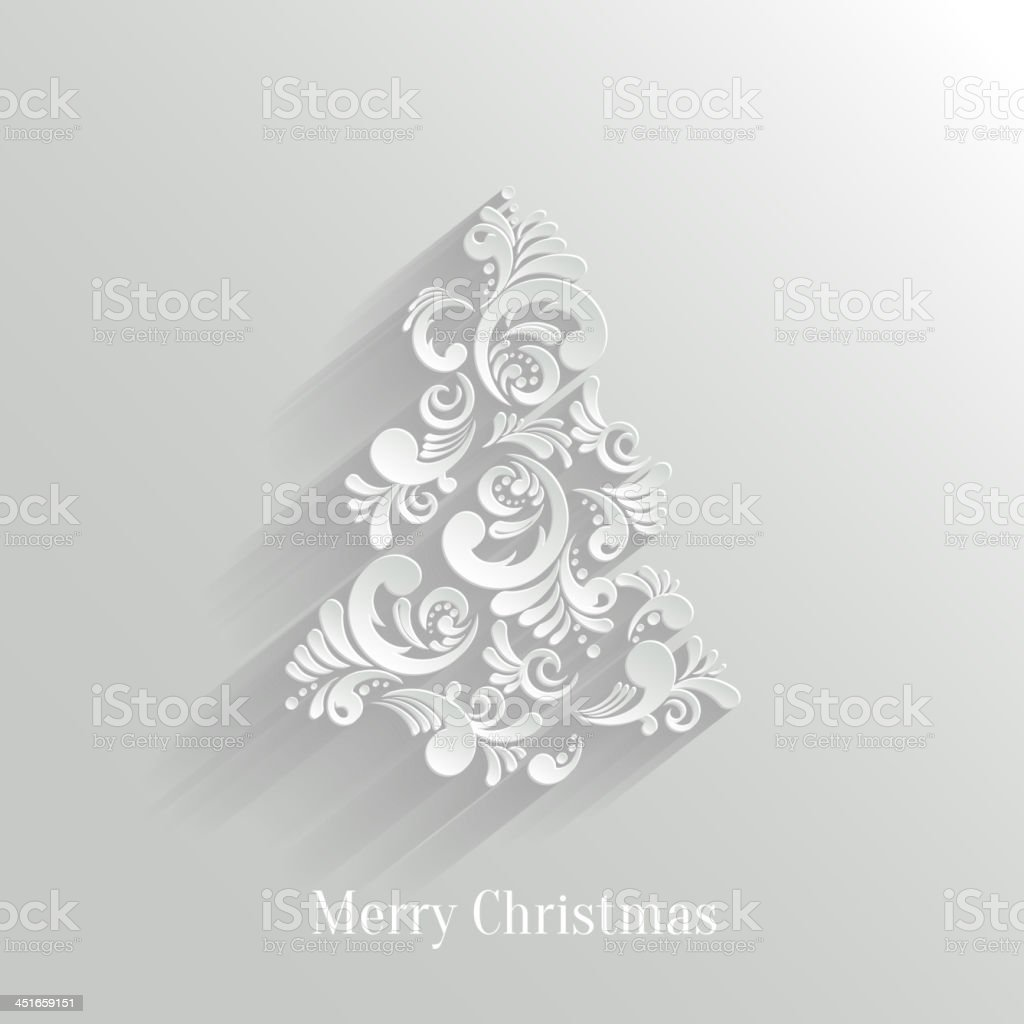 Absrtact Floral Christmas Tree Background, Trendy Design Template vector art illustration