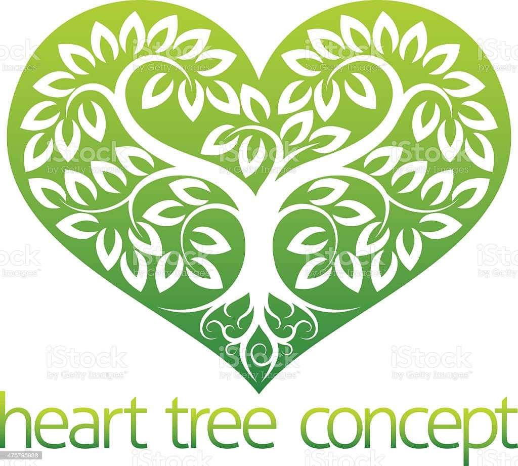 Abstarct Heart Tree vector art illustration