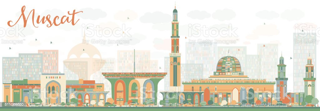Abstrac Muscat Skyline with Color Buildings. vector art illustration