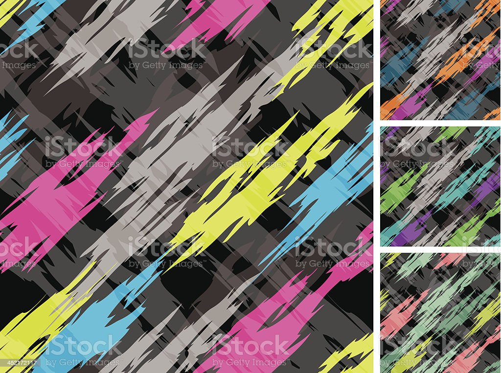 Abstract 1980's Seamless Pattern on Black Ground royalty-free stock vector art