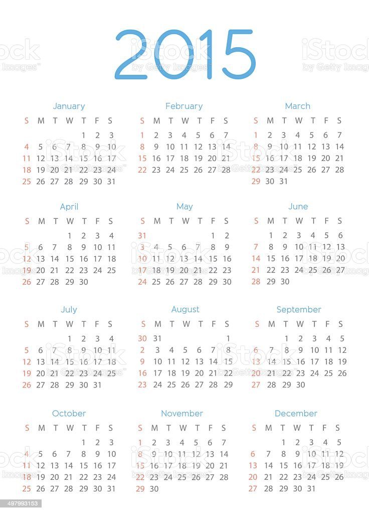 Abstract 2015 Calendar Template - Illustration vector art illustration