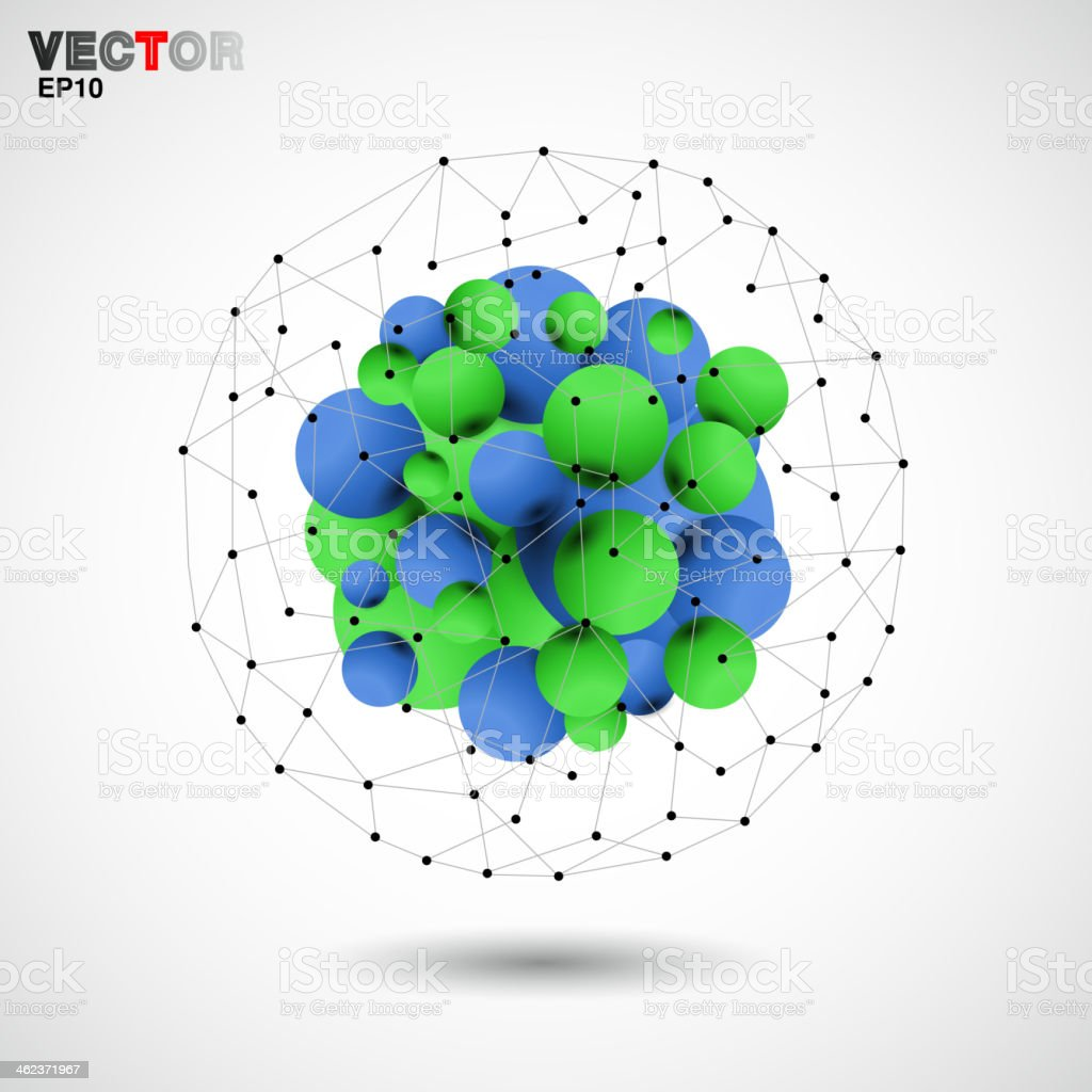 abstract 3D ball technology background vector art illustration