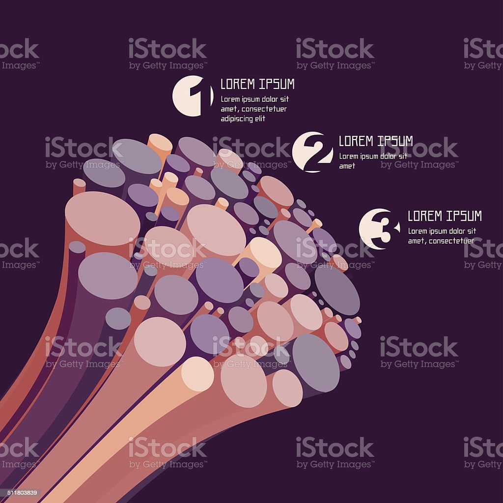 Abstract 3d colourful wires. Business concept. vector art illustration