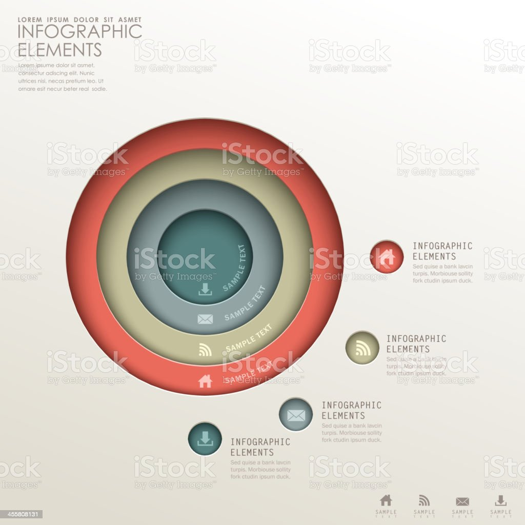 abstract 3d concentric infographics vector art illustration