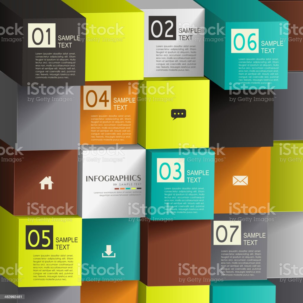 abstract 3d cube infographics vector art illustration