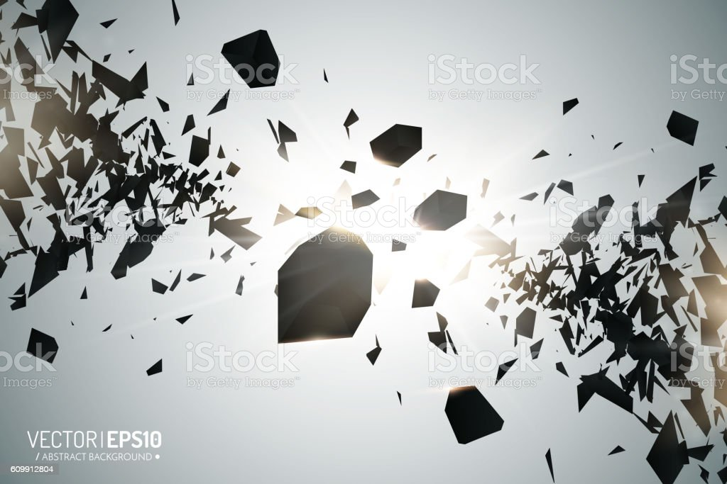 Abstract 3d explosion of chaotic black particles with glow lights vector art illustration